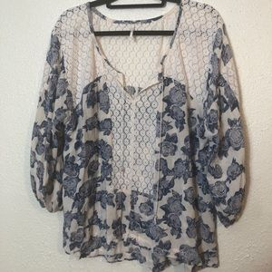 Free People Blue Floral Peasant Blouse Size M